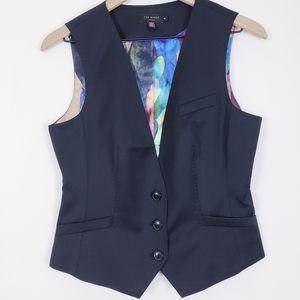Ted Baker Wool Vest Top Waistcoat Sleeveless 3 Med